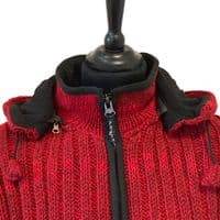 Woollen Ribbed Knitted Jacket in Red
